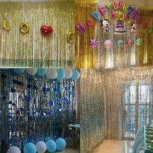 1*2 m borda da folha de metal brilhante chuva cortina festa de aniversário decoração casamento fotografia fundo linha cortina foto adereços