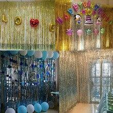 1*2 m folii metalowej krawędzi błyszczące kurtyna deszczowa urodziny dekoracja na przyjęcie ślubne fotografia tło zasłona sznurkowa rekwizyty fotograficzne