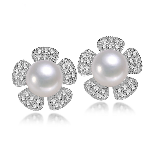 2016 Fashion Pearl Earrings Pearl For Women Vogue Pearl Flower Earrings Silver Earrings Wedding  Jewelry