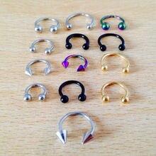 Piercing de anel de horseshoe, aço cirúrgico 316l, joia de corpo tragus de orelha, nariz, lábio, 5 peças