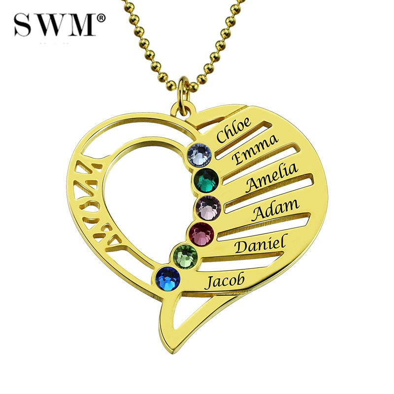 Women Gold Necklaces Custom Name Engraving Necklace Love Heart Collar Birthstone Chain Jewelery Christmas Day Gift for Mother yoursfs 18k rose white gold plated letter best mum heart necklace chain best mother s day gift
