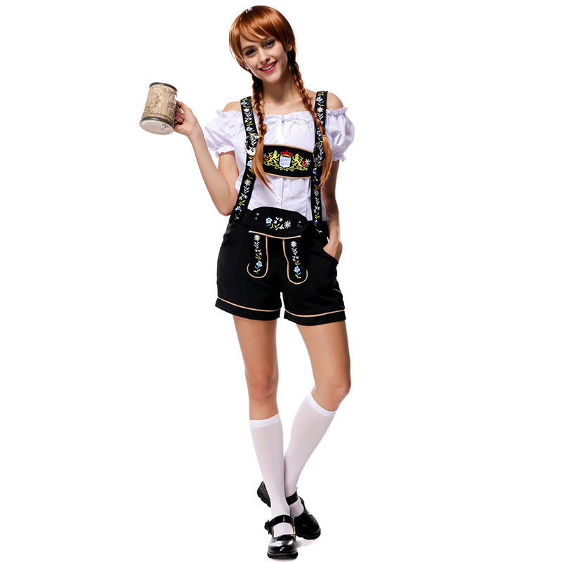 Costumes Adult Women Beer Festival Lively White Top and Black Overalls Suit National Costumes Oktoberfest Event Costumes