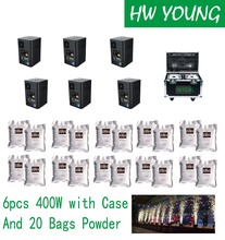 HWyoung 6pcs 400w 20bags/200g/flightcase cold fireworks machine remote control indoor wedding sparklers Stage effects