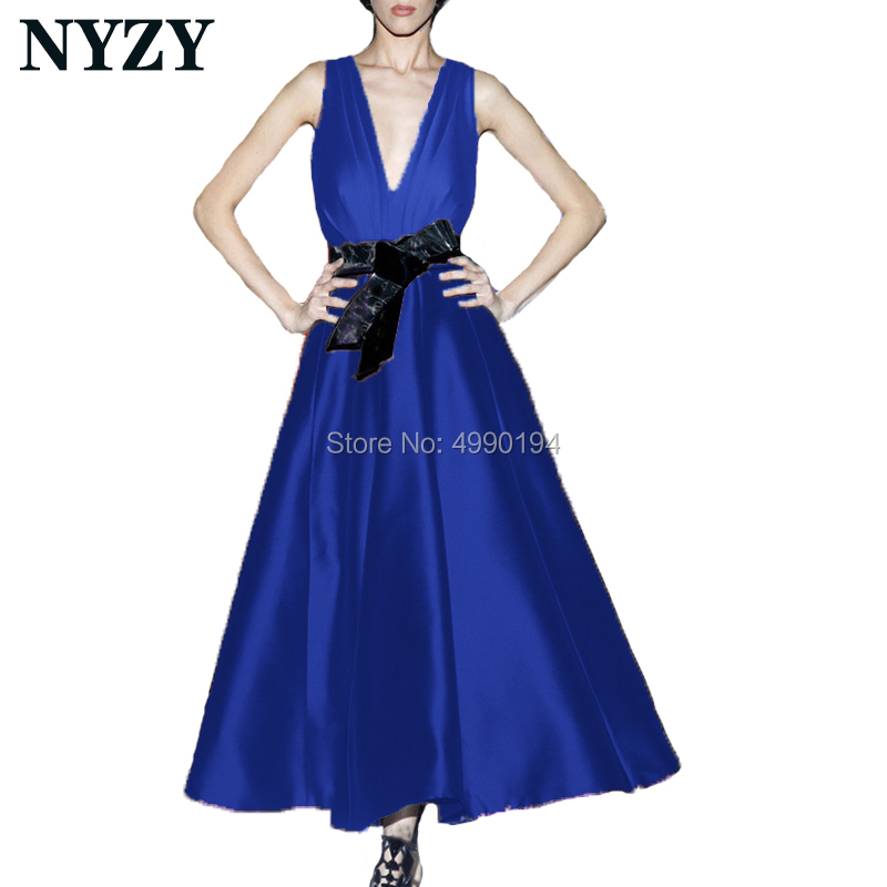 Elegant Vestido Robe   Cocktail     Dresses   NYZY C180J Satin V Neck Tea Length Big Bow Party Gown Formal   Dress   Homecoming Graduation
