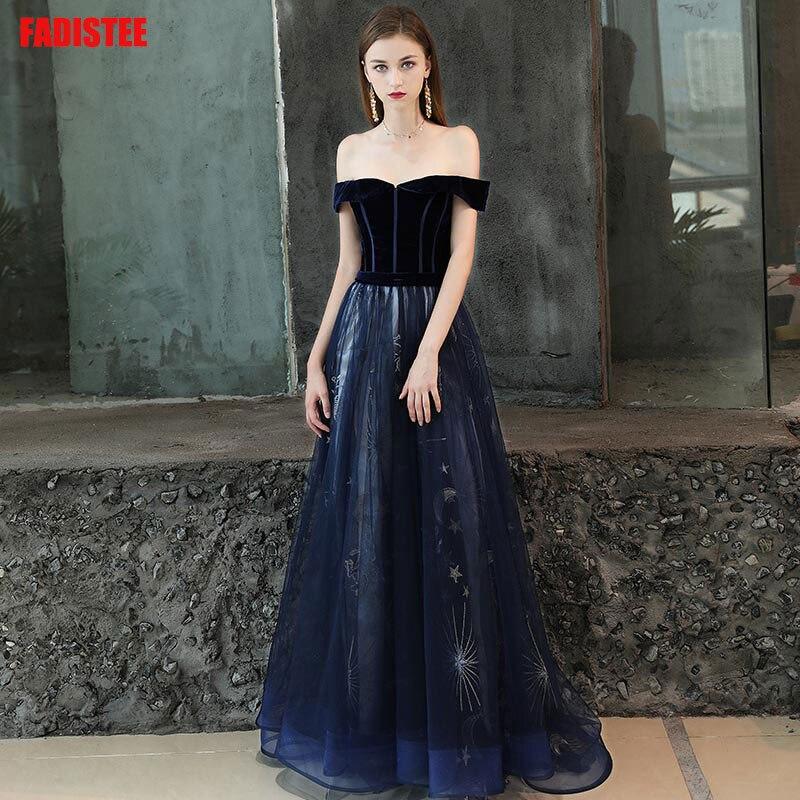 FADISTEE 2019 New arrival party dress evening dress Vestido de Festa sexy lace velour A line