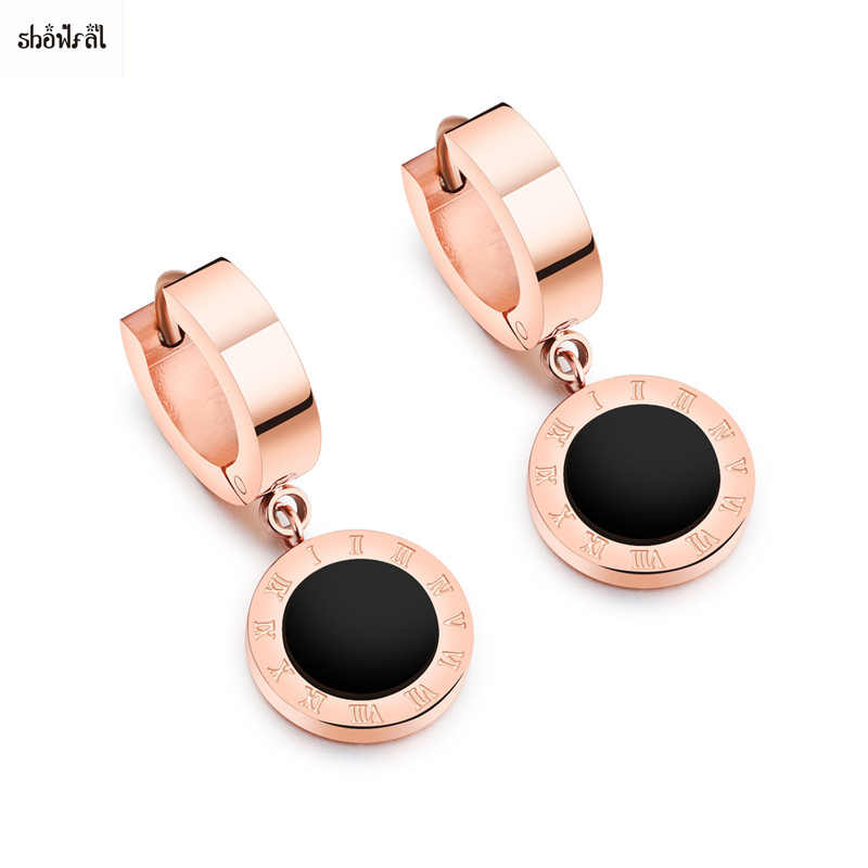 Round Circle Earrings Hoops Rose Gold Bulgaria-jewelry-for-Women Stainless Steel Earrings Roman Numeral Shell Enamel Earrings