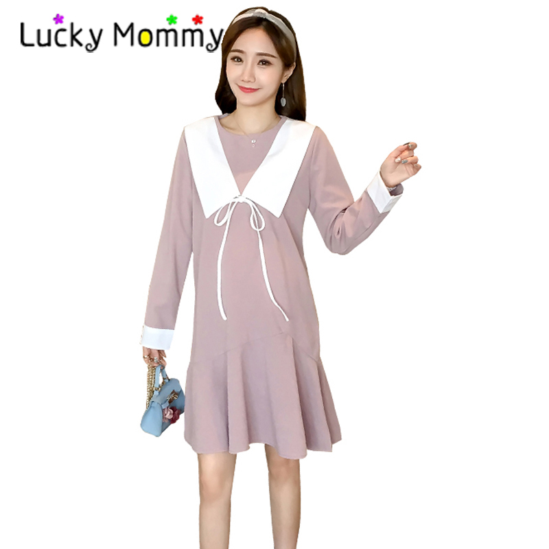 Patchwork Maternity Clothes Preppy Style Pregnancy Dress Thin Long Sleeve Maternity Clothing Of Pregnant Women 2018 Spring