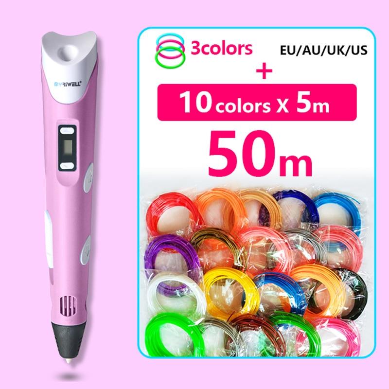 все цены на Myriwell 3d pen 3d pens abs 1.75mm pla filament  LED display 3d magic pen designed for kids graffiti pen онлайн