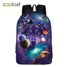 b3b30a91e683 Рюкзак для Galaxy для подростков обувь девочек мальчиков Вселенная  пространство детей школьные ранцы mochila feminina волк