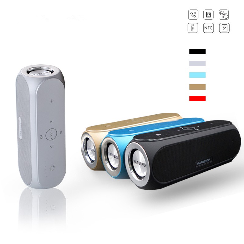 Portable NFC Touch Bluetooth Speaker Wireless  Stereo Sound Box Column Sub Woofer Speakers with Power Bank Charge Mic Function remax h1 desktop speaker leather straps power bank mini portable speaker rb h1 hifi box and 8800mah power bank 2 in 1 function