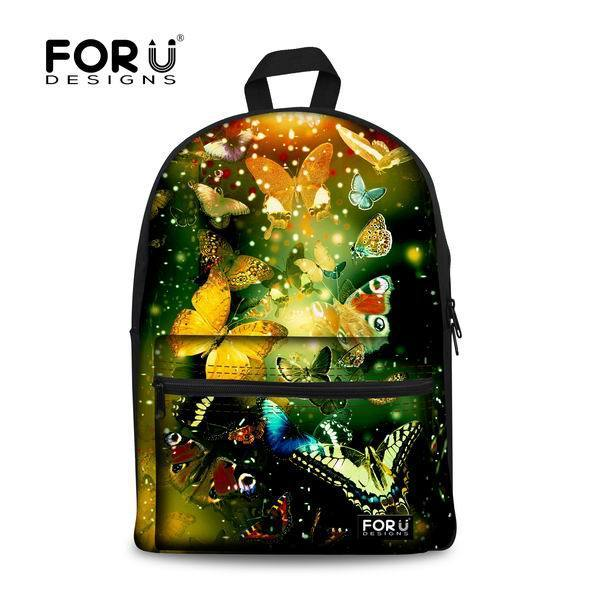 FORUDESIGNS 2017 Schoolbag Students Backpack for Teenager Girls Butterfly Printing Large Book Bags Students Canvas Bags Mochila