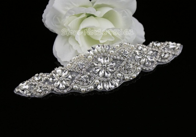 20 5 cm rhinestone appliques transfers crystal beaded appliques trim  beautiful flower diamond ribbon belt for wedding dresses daab888c9463