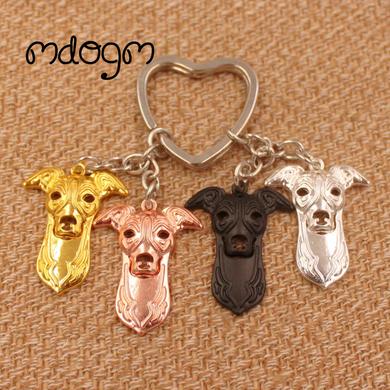 2018 Cute Greyhound Dog Animal Gold Silver Plated Metal Pendant Keychain For Bag Car Women Men Key Ring Love Jewelry K134
