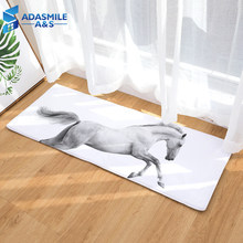 Modern 40*120cm Anti-slip Bedsider Kitchen Area Rugs 3D Horses Printed Flannel Doormat Floor Rugs Carpet Mats for Living Room(China)