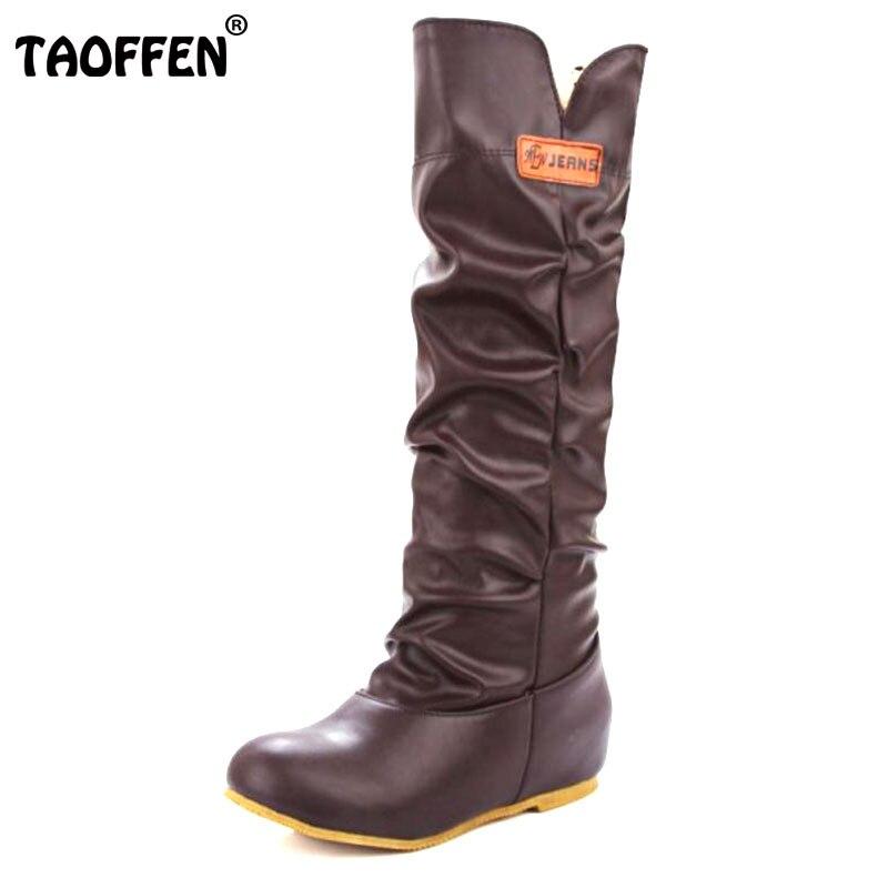 5bfbfc4332a Taoffen размеры 34–46 Модные женские сапоги до колена плоская подошва  мотоциклетные Для женщин Сапоги и ботинки для девочек осень ботинки на шну.