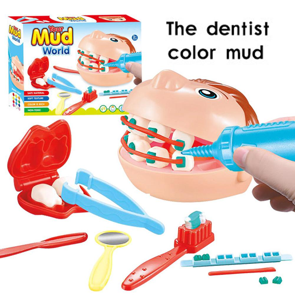 LeadingStar 9Pcs Dentist Pretend Play Toy Set Clay Mud Model Educational Role Play Simulation Learing Toys For Children ice cream machine clay mold tool set 13 16pcs childrentoy clay skin mud handmade clay nontoxic pretend play developmental toys