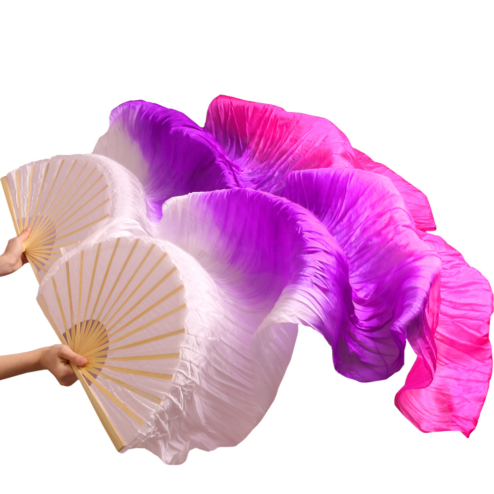 Female High Quality Handmade Chinese Silk 100% Real Silk Veil Fans Belly Dancing Fans Wholesale Size And Color Can Be Customized