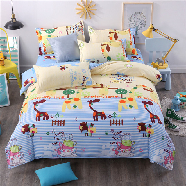 Cartoon Animals Bedding Sets Blue Yellow Children Duvet Cover Twin Full Queen King Single Double Bed