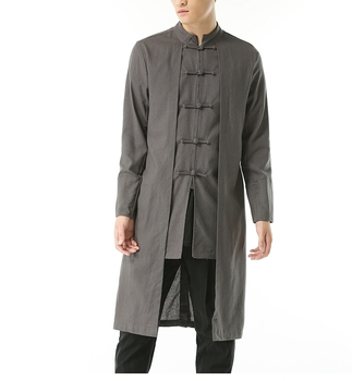 Free shipping Linen men big Linen Trench Chinese style plus size M-5XL men's Casual long-sleeve coat x-long turn-down collar