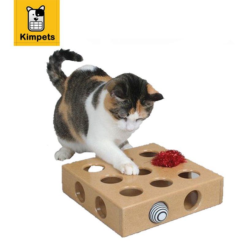 DOBOLA Cat Toy Pet Peek&Play Toy Box Cats Hide&Seek Box Scratching Toy Funny Platform Kitty Puzzle Toys with Balls Pet Product