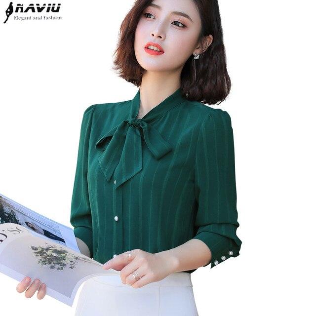148378d7fa8 2019 Spring New chiffon bow shirt women fashion OL office long sleeve slim  blouse formal professional work wear plus size tops