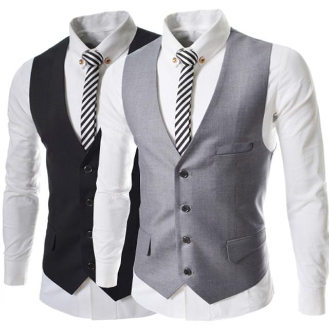 Colete Mens Colete Formal Clássico Único Breasted Coletes À Prova de Vestido Coreano Cabido Vest Colete Sem Mangas Bartender Simples M55 Z05