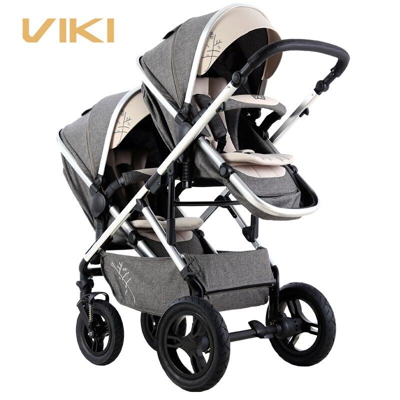 VIKI Multi-function детская коляска для близнецов, двухсторонняя двойная коляска, коляска для 2 детей, двунаправленная, может сидеть и лежать