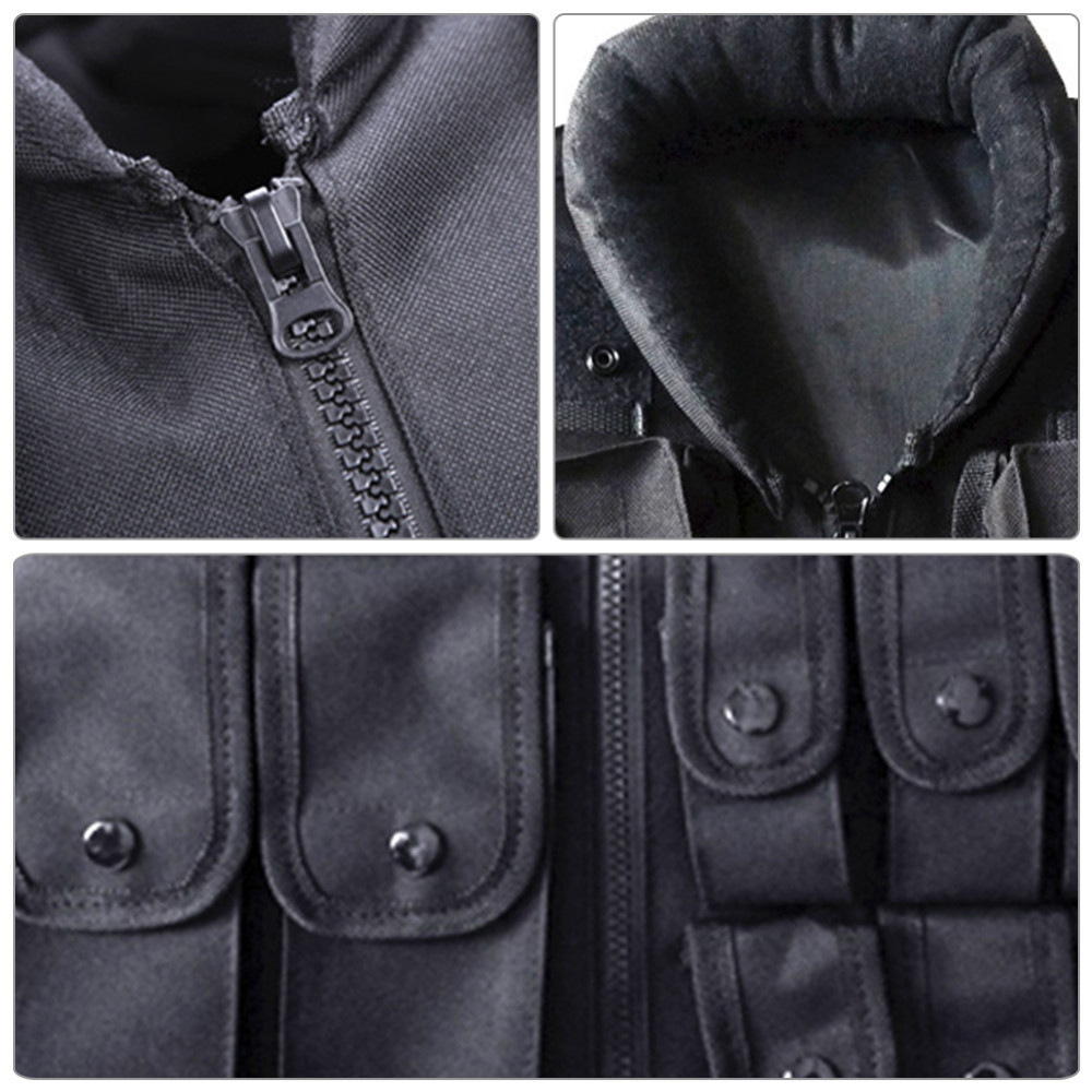 Outdoor Horse Riding Vest Security Guard Children Kids Black Tactical Vest Jacket Waistcoat Tool Holder Toy Clip Darts 4
