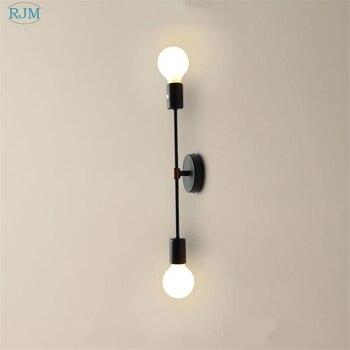 Nordic ferro cabeça dupla led lâmpadas de parede simples e moderno cabeceira luzes de parede barra do corredor sala estar quarto estudo iluminação decoração