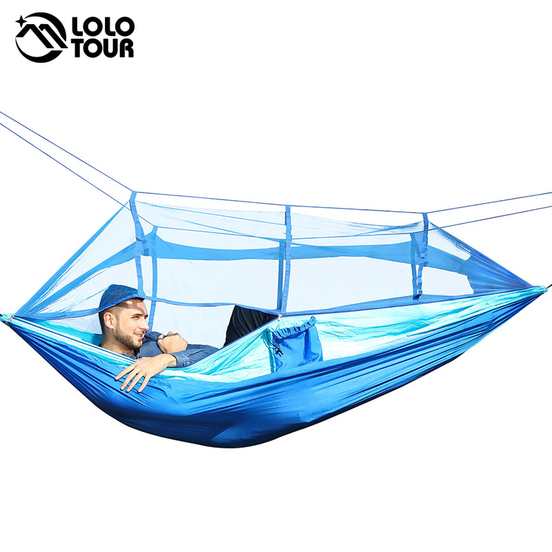 Outdoor Camping Parachute Hammock Mosquito Net Flyknit Double Leisure Sleeping Hanging Chair Tent Travel Survival Army Green ultralight outdoor camping mosquito net parachute hammock 2 person flyknit garden hammock hanging bed leisure hammock travel kit