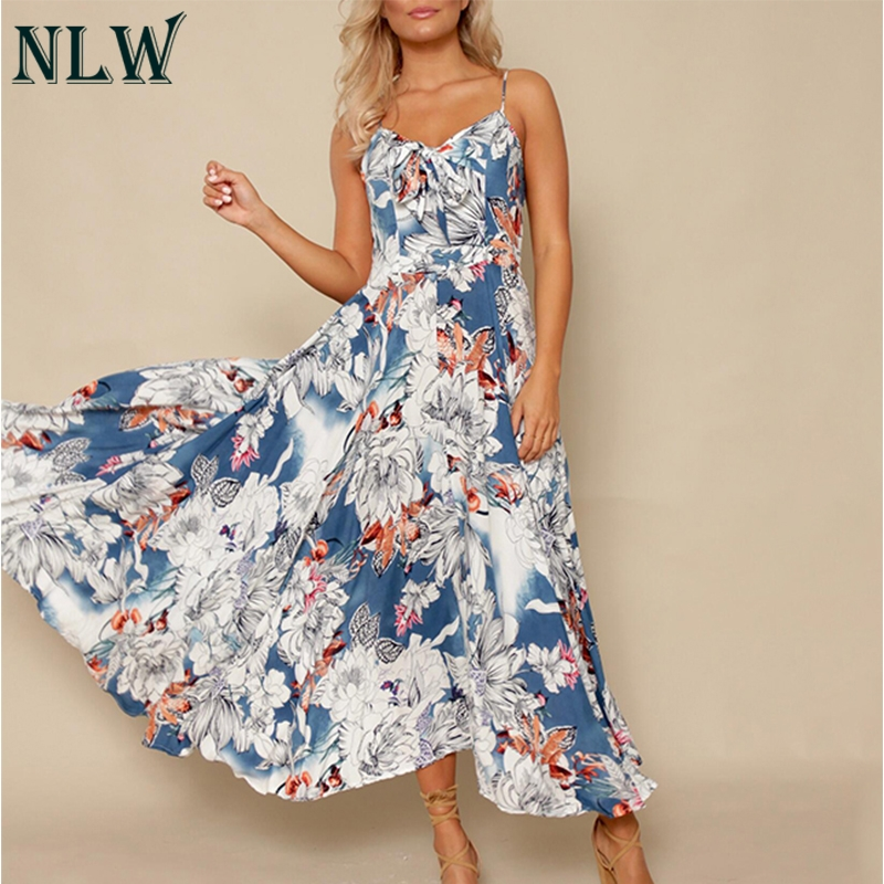 Nlw Boho Maxi Dress Spaghetti Strap Pleated Back Bow Tie Front Floral Print Summer Beach Long Dress Women Girl Elegant Vestidos Women's Clothing