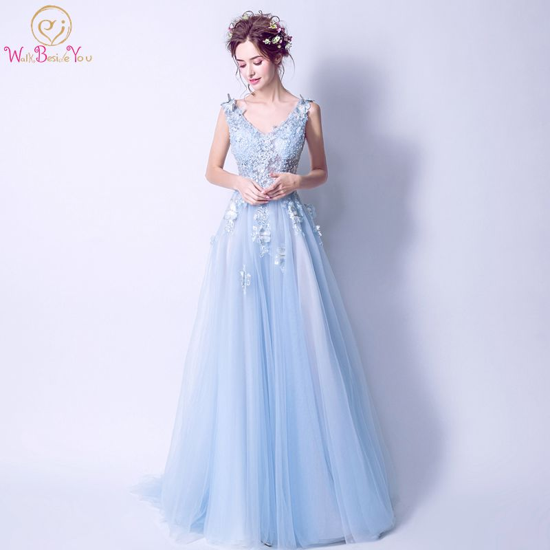 Walk Beside You Light Blue Evening Dresses 2020 Luxury Beaded With Butterfly Lace Applique Prom Gowns Vestido Longo Sereia