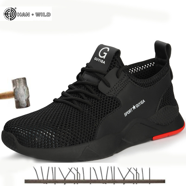 Herren Stahl Kappe Arbeit Schuhe Mode Lässig Atmungsaktive Outdoor Turnschuhe Punktion Beweis Stiefel Komfortable Industrielle Sicherheit Schuh Männer