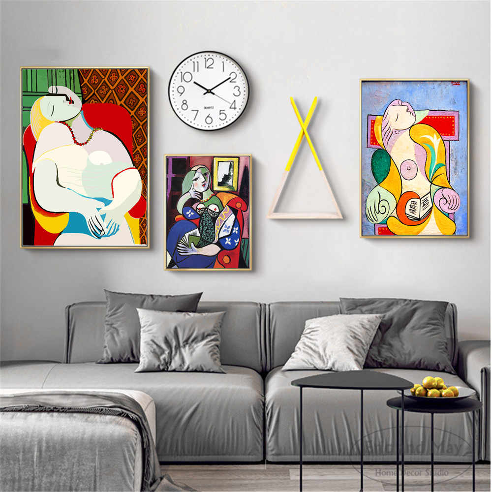 Picasso Woman Series Painting Poster Print Decorative Wall Pictures For Living Room No Frame Home Decoration Accessories