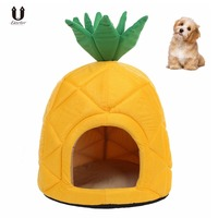 Petacc Pineapple Shape Pet Cat House High Quality Foldable Soft Winter Dog Bed Dog House Kennel