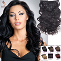 "Real Remy Clip In Hair Extensions 9A Brazilian Straight Dark Brown Clip In Human Hair Extensions 16""-28"" Full Head 7Pcs 8Colors"