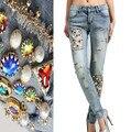 Mulheres Jeans Com Diamantes de Cristal de Luxo Contas de Pérolas Artesanais Rasgado Calças Jeans Skinny Lápis Lápis Novel Para O Partido NZ04