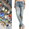 Women Handmade Pearls Jeans With Diamonds Crystal Beads Luxurious Skinny Pencil Pencil Novel Ripped Denim Pants For Party NZ04