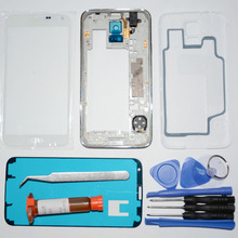 Full Housing chassis Middle Frame & Rear case & Outer Glass Replacement for Samsung Galaxy S5 S V G900F/M/P/T + UV glue + tools