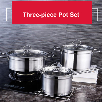 CJ-011YBRS3 Household 3-piece Cookware Set Stainless Steel Cooking Pot High-quality Kitchen Tools Composite Bottom Cooking Pots
