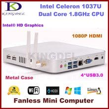 Горячая Intel Celeron 1037U двухъядерный процессор безвентиляторный тонкий клиент мини-пк 4 ГБ оперативной памяти 320 ГБ HDD 1080 P USB 3.0 HDM + VGA Wif металл чехол