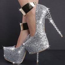PADEGAO Elegant Fashion women shoes PU  14.5cm high heels women's shoes party blue pump shoes plus size SIZE 34-45