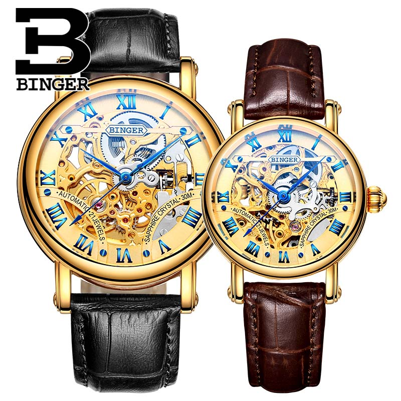 BINGER Automatic Watch Men Leather Casual Business Watches Couple Mechanical Watch Women Skeleton Watch Relogio Masculino