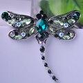 Высокое Качество Кристалл Dragonfly Броши для Женщин Девушки Зеленый Ювелирные Изделия Шарф Штыри Отворотом Брошь Античный Посеребренные Аксессуары