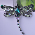 High Quality Crystal Dragonfly Brooches for Women Girl Green Jewelry Scarf Lapel Pins Brooch Antique Silver Plated Accessories