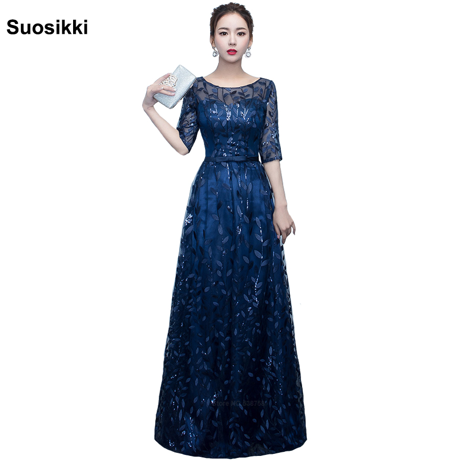 Suosikki Newest Design long   evening     dress   shining half sleeve elegant women formal prom party   dress   robe de soiree