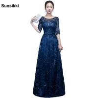 Suosikki Newest Design long evening dress shining half sleeve elegant women formal prom party dress robe de soiree