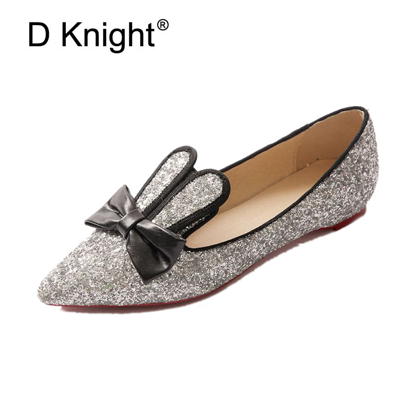 Plus Size 32-48 Rabbit Ears Loafers Women Bowtie Sequined Cloth Flats Women's Casual Glitter Shoes Woman Silver Black Boat Shoes