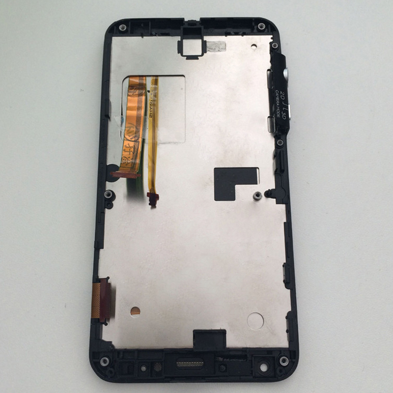For HTC EVO 3D G17 Touch Screen Digitizer Sensor Glass + LCD Display Panel Monitor Module Assembly with Frame Bezel