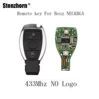 Stenzhorn 2 Knoppen 433 Mhz Compleet Smart Afstandsbediening Sleutel Voor Mercedes BENZ 2000 + NEC & BGA stijl Auto Remote Key Shell Case Met Blade
